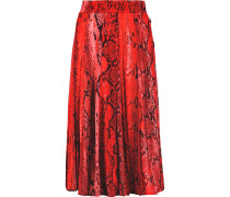 Button-detailed Printed Jersey Midi Skirt Signalrot