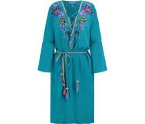 Embellished belted silk-chiffon mini dress