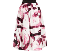 Printed silk-organza midi skirt