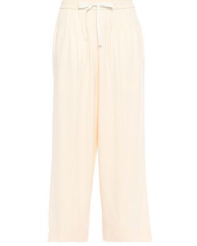 Woman Cropped Twill Wide-leg Pants Cream