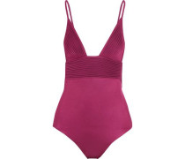 Open-back ribbed-paneled stretch swimsuit