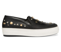 Studded Leather Slip-on Sneakers Schwarz