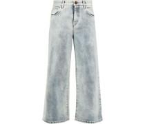 Hoch Sitzende Cropped Jeans mit Weitem Bein in ausgewaschener Optik