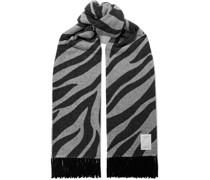 Oversized Fringed Zebra-print Wool-blend Scarf