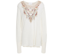 Embellished Printed Knitted Sweater