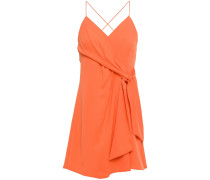 Wrap-effect Knotted Crepe Mini Dress