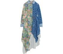 Lisa Asymmetrisches Hemdkleid aus Baumwolle mit Lochstickerei und Blumenprint