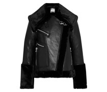 Eduardo Faux Fur-trimmed Leather Biker Jacket
