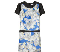 Printed Silk-shantung Dress Blau