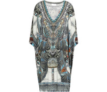 Crystal-embellished Printed Stretch-jersey Coverup
