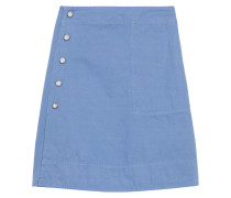Ida Snap-detailed Cotton And Linen-blend Mini Wrap Skirt