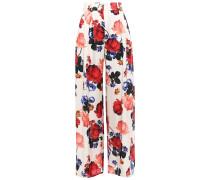 Floral-print Silk-satin Wide-leg Pants
