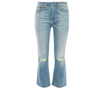 Distressed Faded High-rise Kick-flare Jeans