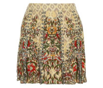 Sagat eyelet-embellished printed silk mini skirt