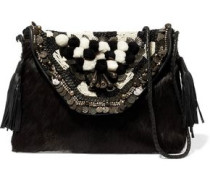 Leather-trimmed embellished calf hair shoulder bag