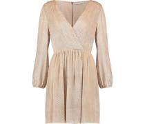 Rania wrap-effect pleated devoré-velvet mini dress