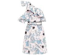 One-shoulder Ruffled Floral-print Crepe De Chine Mini Dress