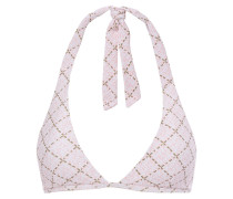 Woman Checked Textured Triangle Bikini Top Baby Pink