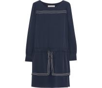 Drop-waist Silk Crepe De Chine Mini Dress Navy