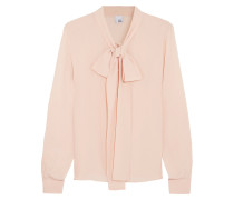 Pussy-bow Silk-georgette Blouse Puder