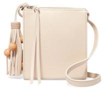 Sara Tasseled Leather Shoulder Bag Creme