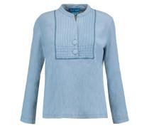 Crinkled-cotton Top Blau