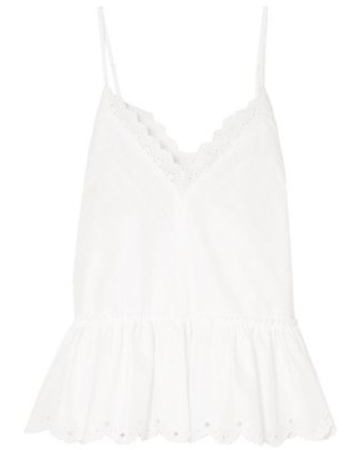 Broderie Anglaise Cotton-poplin Peplum Camisole White