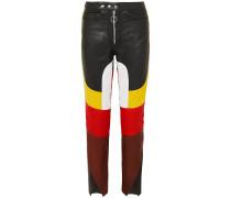 Color-block Leather Straight-leg Pants