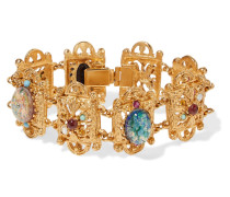 Gold-plated Stone And Crystal Bracelet