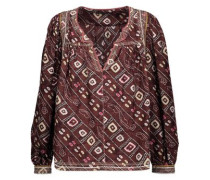 Tyron embroidered printed silk-satin blouse
