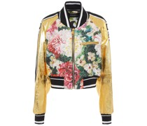Metallic Leather And Floral-brocade Bomber Jacket