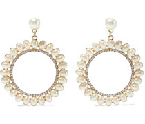 -plated, Faux Pearl And Crystal Hoop Earrings