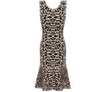 Fluted Leopard-print Jacquard -knit Dress