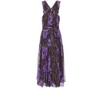Adora Pleated Printed Fil Coupé Silk And Lurex-blend Midi Dress