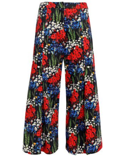 Bennie Faux Pearl-embellished Floral-print Stretch-cotton Culottes Midnight Blue