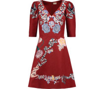 Sailor embroidered cotton and silk-blend faille mini dress
