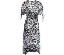 Leopard-print silk-satin midi dress