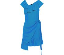 Wrap-effect Ruffled Linen Mini Dress