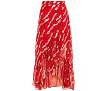 Hada Metallic Fil Coupé Printed Silk-blend Wrap Skirt