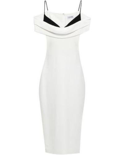 Cold-shoulder Two-tone Crepe De Chine Dress White