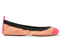 Two-tone Patent-leather Ballet Flats Puder