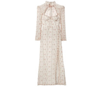 Ruffle-trimmed Floral-print Silk-gauze Maxi Dress
