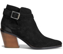Ramone Buckled Leather-trimmed Suede Ankle Boots