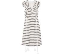 San Rafael ruffled striped linen and silk-blend dress