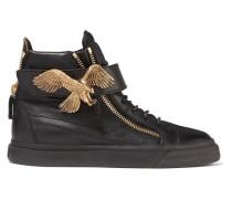 Embellished Leather Sneakers Schwarz