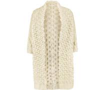 Metallic Jacquard-knit Cardigan Ecru