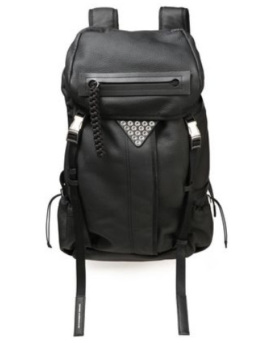 Woman Snap-embellished Textured-leather Backpack Black