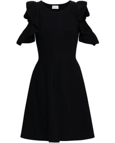 Cold-shoulder Ruffle-trimmed Stretch-knit Mini Dress Black