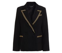 Double-breasted Lamé-trimmed Bead-embellished Crepe Blazer