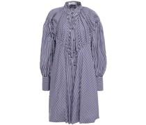 Gestreiftes Hemdkleid aus Baumwollpopeline in Minilänge mit Raffung